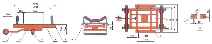 配用带宽:200mm-2000mm 结构组成:组合方式 部件数量:称体1件、称重桥1件、测速车1件、仪表(积算仪)1台、接线盒1件 精确度:1%(动态累计误差) 称体长度:2400mm 友情提示:精度优于ICS--1,但需要更长的皮带机和更大的空间 称体外形尺寸图:  说明:1、测速车及测速传感器 2、称重架 3、辅助辊 4、称重桥 5、原输送机托辊改制的计量托辊 5、输送机框架 称体安装示意图: